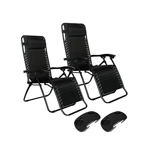 YChoice365 Sonnenliegen-Set, 2 Stück, mgarden Liegen und Liegestuhl mit 2 Getränkehaltern schwarz