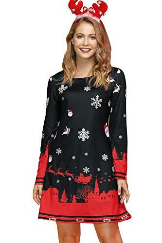 For G and PL Damen Weihnachtskleider Langarm Bodycom Festliche Kleider, Santas Jumbo Schlitten, XXL