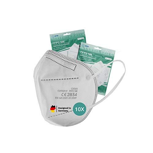 P.A.C. OFM FFP2 Maske, Atemschutzmaske, Partikelfiltermaske, CE Zertifiziert, Mundschutz Maske, Mund-und-Nasenschutz nach EN149:2001+A1:2009