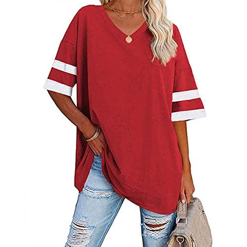 Camiseta casual de verano con cuello en V para mujer, de manga corta, informal, holgada, de béisbol, túnica, rosso, L