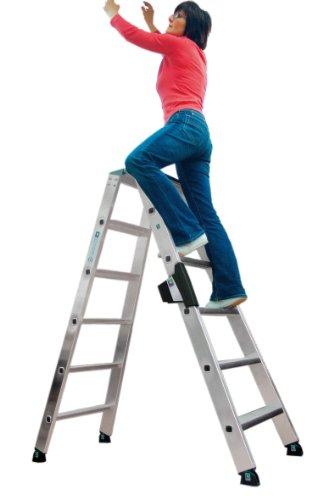 GÜNZBURGER aluminium staande ladder, aan beide zijden, 2 x 8 treden,