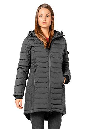 Eight2Nine Damen Stepp-Mantel mit gefütterter Kapuze Dark-Grey M