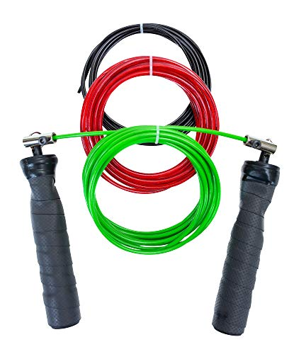 Jump Rope + Bonus Tutorial and Fat Burning Workout Videos, Adjustable, No Slip Grip, 3 Different Weight Cables - Best for UFC, Muay Thai, MMA, Boxing, HIIT, Cross Training (Black, 118 in)