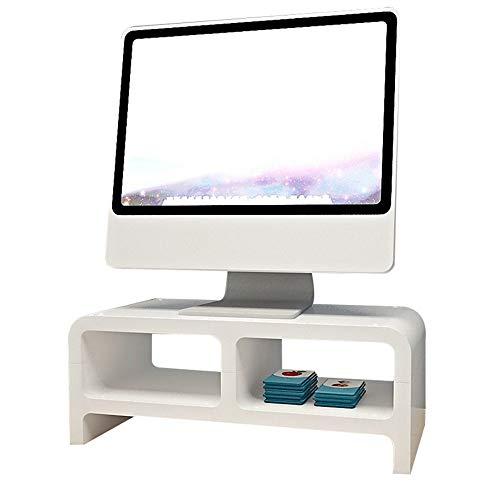 YBWEN-OSB Aufbewahrungsbox für Büromaterial Desktop-Monitorständer LCD-TV-Laptop-Computer-Bildschirm-Riser-Regal Ablagekorb (Farbe : Weiß, Größe : 55.5 * 21.5 * 24cm)