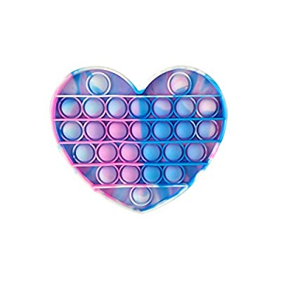 PAIDE P Push Pop Pop Bubble Juguete Antiestres. ,Relajante . Juguete sensorial, Autismo. Fidget Toy Pop it. Alivia ansiedad. Niños y Adultos. (Corazón Rosa-Celeste) de PAIDE P