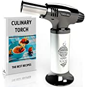 Best Culinary Torch - Chef Torch for Cooking Creme Brulee - Hand Butane Kitchen Torch - Blow Torch with Adjustable Flame & Safety Lock - Cooking Torch for Baking, BBQs, Crafts + Recipe eBook