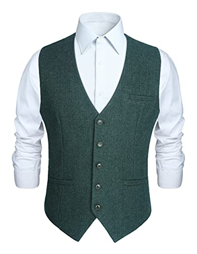 HISDERN Herren Anzugweste Wolle Herringbone Tweed Weste Formale Klassische Solide Herren Weste für Party Hochzeit Business Basic Weste Grun L