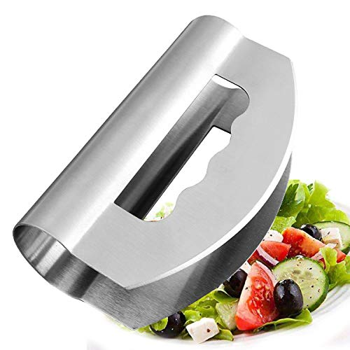 Mezzaluna Chopper - Vhabob Salad Chopper knife with Double Blade Protective Covers - Stainless Steel Mezzaluna Knife - Multipurpose Premium Salad Chopper for Home, Kitchen and Restaurant