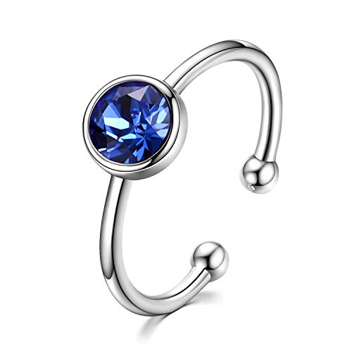 AOBOCO 925 Sterling Silver Created Sapphire Ring September Birthstone Adjustable Stackable Wrap Open Ring for Women, Crystals from Swarovski