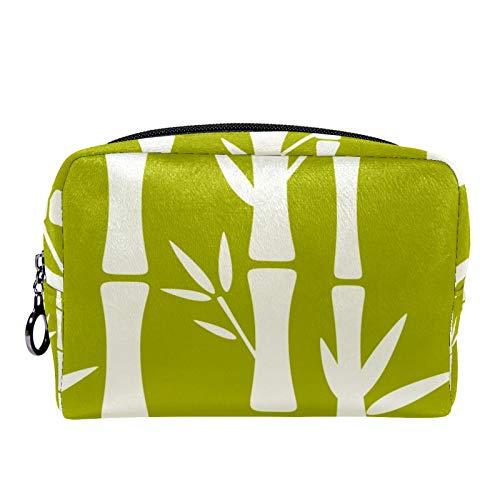 Bolsa de cosméticos Bolsa de Maquillaje para Mujer para Viajar para Llevar cosméticos, Cambio, Llaves, etc. Patrón sin Costuras con Siluetas Árboles de bambú
