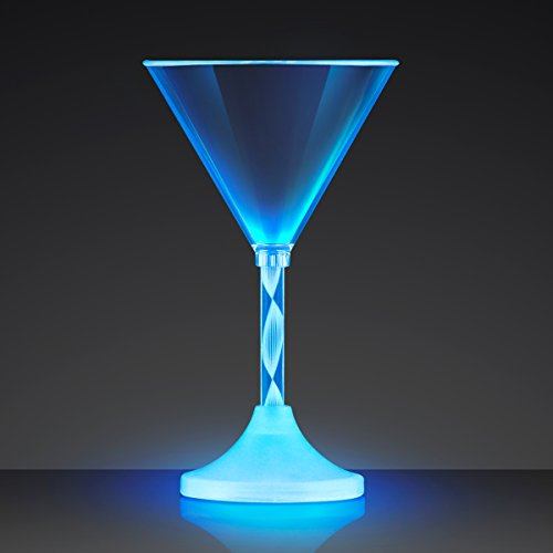 Set of 4 Light Up Martini Glasses with Long Spiral Stem and Color Changing LED