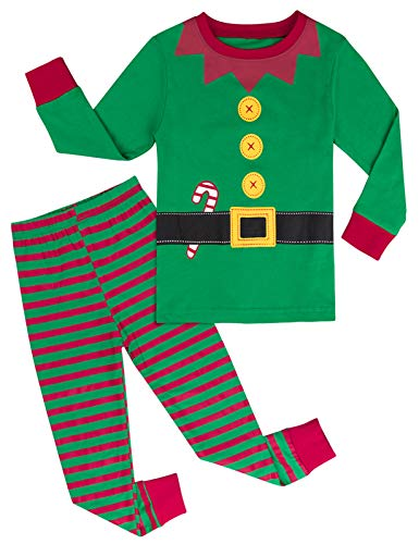 mintgreen Pijama Navidad Bebé Niño Manga Larga Disfraz Elfo Pantalones Rayas (Elf, 18-24 Meses)