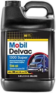 Delvac Mobil Mobil 15W-40 Heavy Duty Diesel Oil, 2.5 gal.