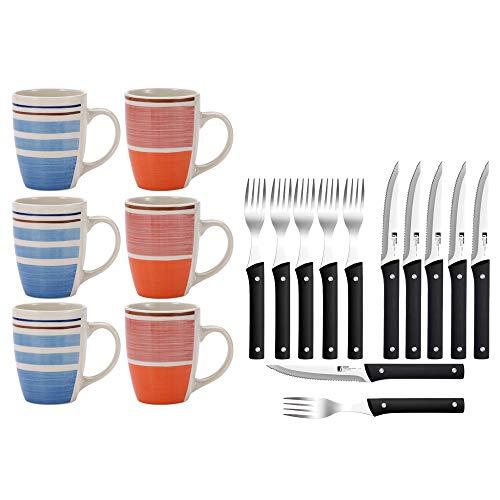 Renberg Pk1178 Set Haus Küche 6 Mugs und 12 Teile, Besteck, Schwarz