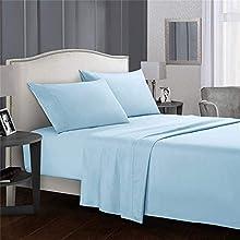 Juego de sábanas de 4 piezas, Juego de sabanas Cama 150*190/200CM, sábana bajera ajustable con 2 fundas de almohada, resistente a la decoloración y a la contracción (azul, queen)