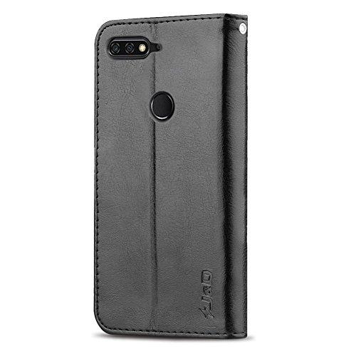 J&D Kompatibel für Huawei Honor 7C Leder Hülle, [RFID Blocking Standfuß] [Slim Fit] Robust Stoßfest PU Leder Flip Handyhülle Tasche Hülle für Huawei Honor 7C Hülle - Schwarz - 5
