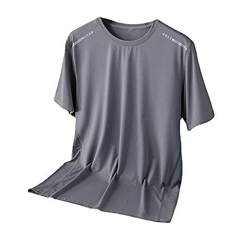 N\P Camisa deportiva de manga corta de secado rápido para hombre de verano transpirable de seda de hielo, gris, 6X-Large