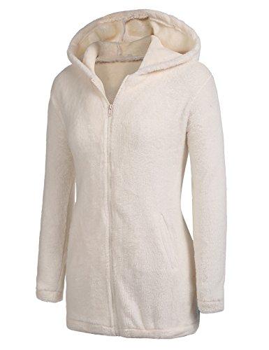 Parabler Damen Mantel Teddy-Fleece Frau Wintermantel Revers Faux Wolle Outwear Warm Cardigan mit Taschen Sexy Parka Steetwear (Beige, EU 40/ L)