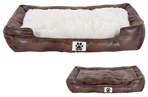 DeluxePet 'Schlummer' Hundebett braun 100x70 aus Kunstleder mit 2in1 Wendekissen, Hundekissen für große Hunde mit Einer Fell und Leder Seite, Seiten weich gepolstert, Anti-Rutsch Rückseite