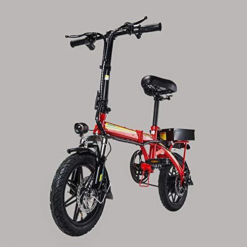 Adulto 14inch Pequeño Bicicleta Plegable eléctrica, batería de Litio de 48V, Las Mujeres Mini Bicicleta eléctrica, E-Bikes con Smart Meter,Rojo,120KM