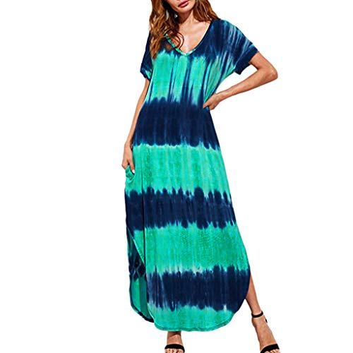 Why Choose Cliramer Women's Plus Size V-Neck Casual Short-Sleeved Gradient Print Side Slit Dress Max...