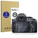 X-Dision Protector de Pantalla Compatible con Nikon D5100/5200,[Resistente a Rayones,Fácil de Instalar,Dureza 9H], [3 Piezas] Película de Vidrio Templado para Nikon D5100/5200