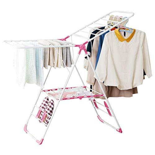 SYDDP Tendedero de Ropa con alas, Plegable, 4 Soportes para Zapatos, tendedero de lavandería, tendedero, tendedero, 19 Varillas, toallero para Interior o Exterior, Altura Ajustable en Color Rosa