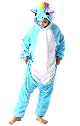 Jumpsuit Onesie Tier Fasching Karneval Halloween Kostüm Kinder Mädchen Junge Sleepsuit Overall Pyjama Unisex Lounge Cosplay Schlafanzug Blau Einhorn for Höhe 90-148CM