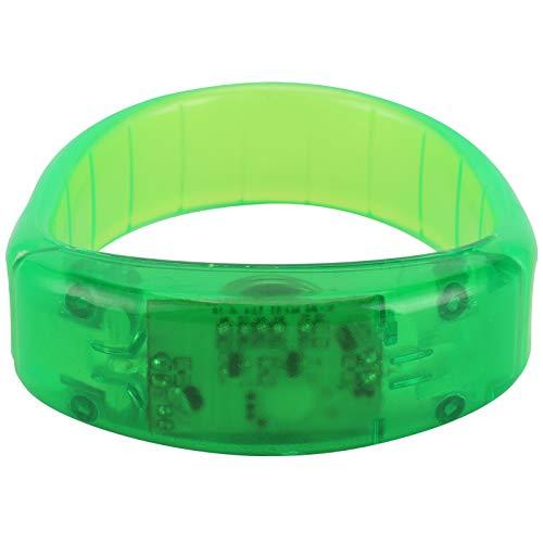 WNSC Pulsera LED, Pulsera Intermitente activada por Voz, Pulsera LED para Correr de Noche, Pulsera LED Fresca para niño, para Bar, para Corredor, para conciertos de música(Green)