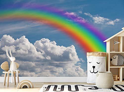 Fototapete - Regenbogen in Wolken - Fototapete Wanddeko (144 x 100 Zoll/366 x 254 cm) Riesen Papier Poster für Kinderzimmer, Kinderzimmer, Wohnzimmer, Bild Dekoration