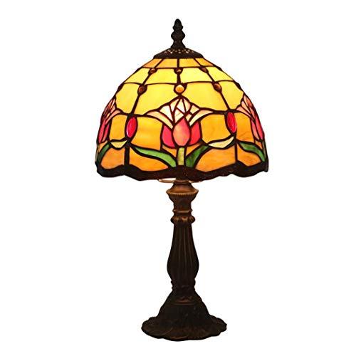 ZPZ-Iluminación Lámpara de mesa pequeña estilo Tiffany de 8 pulgadas, lámparas de cabecera en el dormitorio, decoración de vidrieras retro Luz de noche para niños, E27, MAX40W (tulip Nivel de energía