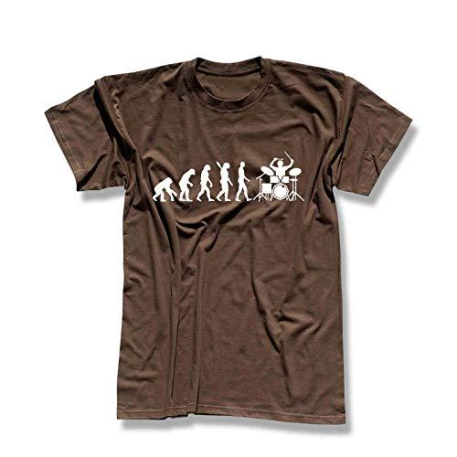 T-Shirt Evolution Drummer Schlagzeug Tama Pearl Gretsch Evo Yamaha Ludwig Roland Remo Band Musik Musiker 13 Farben Herren XS-5XL, Größe:L, Farbe:braun - Logo Weiss