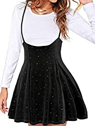 YOINS women mini skater skirt basic casual flared suspender skirts sequin twinkle star printed school short pleated skater is great for womens, ladies and young girls. Features: Adjustable straps design, High-rise/elasticated waist, Zip to fastening,...