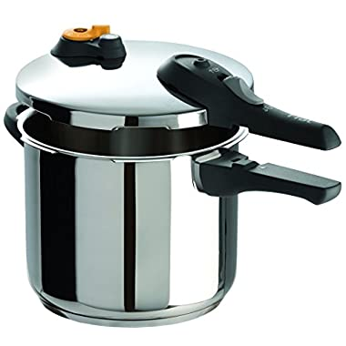 T-fal P25107 Stainless Steel Dishwasher Safe PTFE PFOA and Cadmium Free 10 / 15-PSI Pressure Cooker Cookware, 6.3-Quart, Silver