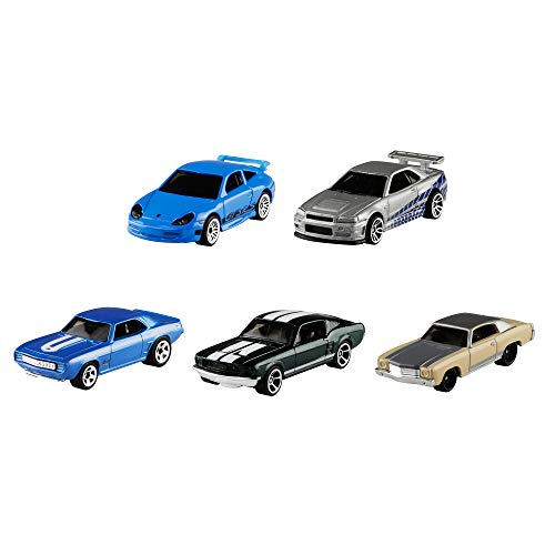 Hot Wheels GMG69 - Hot Wheels Fast & Furious 5er-Pack mit Fahrzeugen im Maßstab 1:64