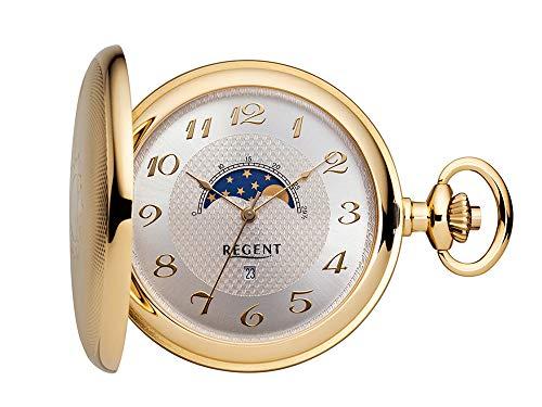 Regent Taschenuhr vergoldet analog Quartz Mondphase P-161