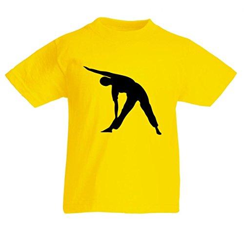 Camiseta con texto en alemán 'Junge- ÜBUNG- WEIBLICH- FITNESS- MÄDCHEN- GESUNDHEIT - MENSCHLICHE- MÄNNLICH- MANN- MENSCHEN- PERSON- POSE' para caballeros, damas, niños, 104- 5XL amarillo Niños talla: 116 cm