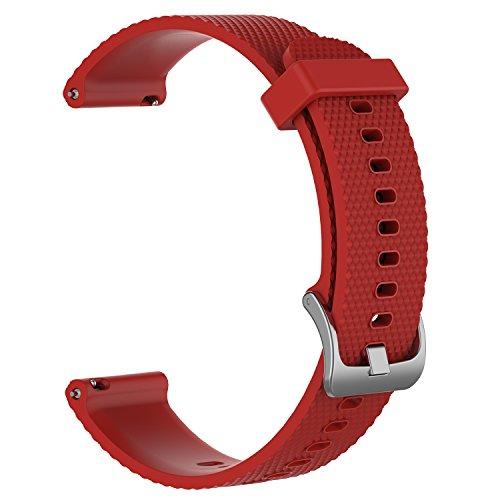 AumoToo Ersatz-Armband für Garmin vivoactive 3/ vivomove/ vivomove HR Fitness-Uhr, 20mm, verstellbar, weich, Silikongurt schnell-öffnendes Ersatz-Armband, Herren, rot, S