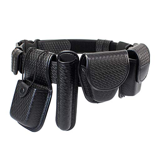 LytHarvest 8-in-1 Police Duty Belt Kit with Pouches, Law Enforcement Utility Belt Rig, Modular Security Guard Equipement, Tactical Utility Duty Belt, Basketweave (Medium)