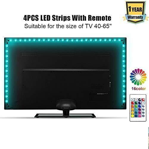 ACDGS LED-Streifen TV-Hintergrundbeleuchtung 2 Meter USB Bunte Tischleuchte Bar 24-Tasten-Infrarot-Fernbedienung RGB Wasserdichter Fernseher Polarisiertes Licht 24 32 42 50 60 65 70 Zoll HD-Fernsehbil