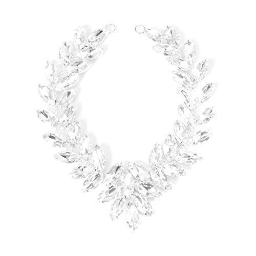 Trimming Shop - Silber Strassstein Diamant Motiv Kristall Zum Aufnähen Applikation 215mm X 50 MM