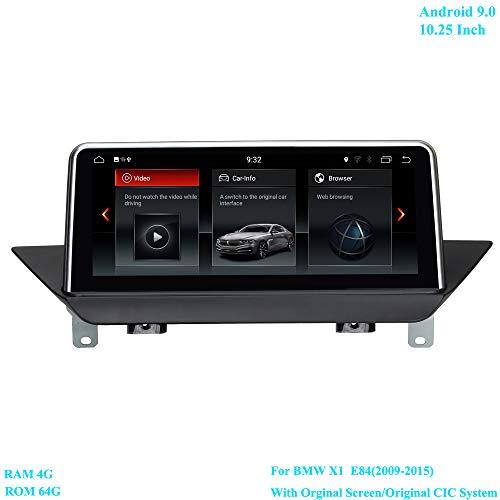 XISEDO 10.25 Pollici Schermo Android 9.0 Autoradio RAM 4G ROM 64G Navigazione GPS Supporta Controllo del Volante WiFi per BMW X1 E84 (2009-2015) con Schermo Originale/Sistema CIC Originale