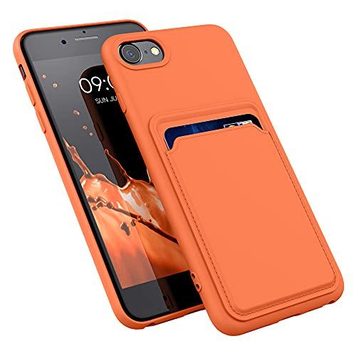 kwmobile Funda con Tarjetero Compatible con Apple iPhone 7/8 / SE (2020) - Carcasa Protectora de TPU Suave - Naranja