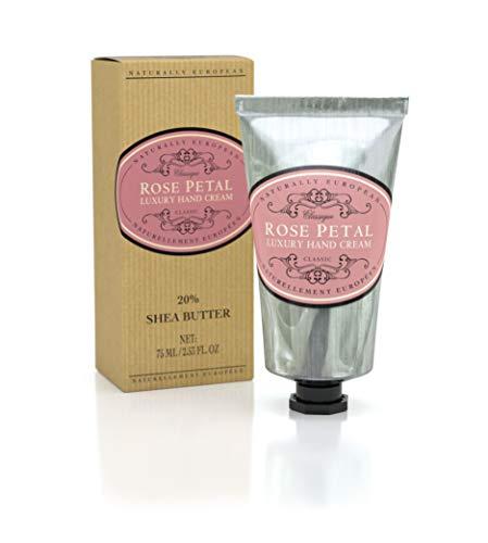 Naturally European Rose Petal Luxury Hand Cream 20% Shea Butter 75ml   Combats Dry Skin For Those Hardworking Hands   Hand Cream, Hand Cream for Very Dry Hands, Shea Butter