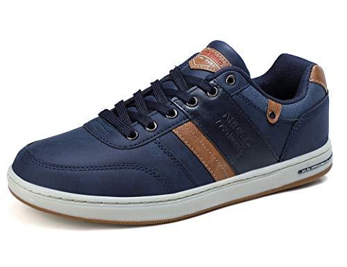 ARRIGO BELLO Zapatos Hombre Zapatillas para Vestir Casual Deportivas Confort PU Cuero Deporte Sneakers Talla 41-46(Azul,44)