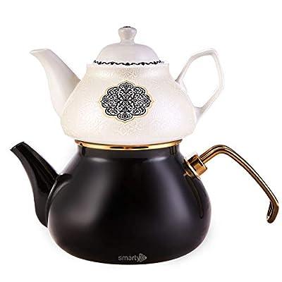 Porcelain Enamel Turkish Teapot - Nostalgic Retro Design Samovar Tea Kettle for Stove Top Caydanlik Small1.1 Lt (Black)