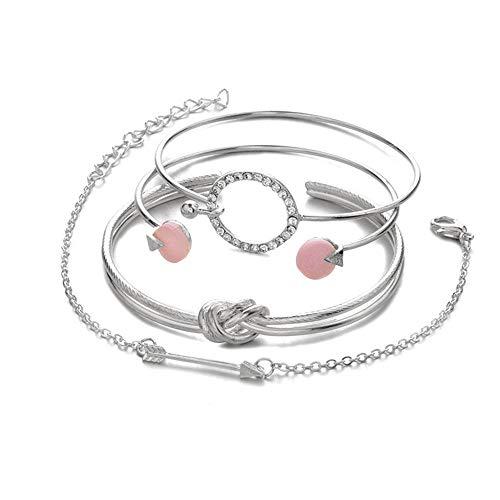 Lialbert Damen Armband Set,4 StüCke Gold ArmbäNder Silber Armreif, Pfeil Kreis Glitzer Armkette