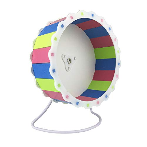 Petzilla Quiet Hamster Exercise Wheel, Silent Multi-Colored Spinner, Made of Wood, Stand Included, Sunflower Design (9', Multi-Color)