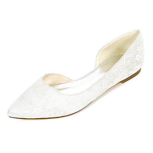 2046-08LS Damen Brautschuhe Lace Satin Damen Flache Ballett Brautjungfer Satin Slip On Hochzeit Brautkleid Schuhe,Ivory,UK7/EU40