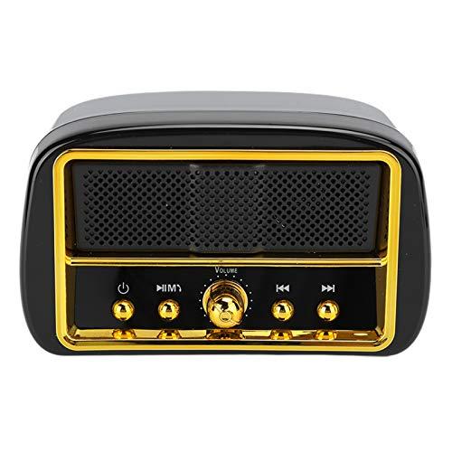 Lazmin112 Mini Altoparlante Vintage, Bluetooth 5.0 Portatile a Lunga Durata della Batteria TWS Associazione Wireless Microfono Integrato Chiamate Altoparlante Subwoofer (Nero)